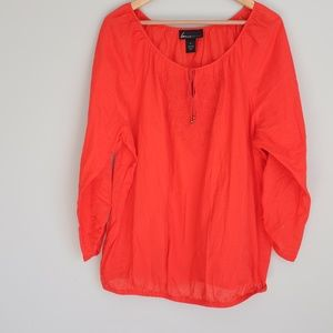 Lane Bryant Red Embroidered Long Sleeve Shirt